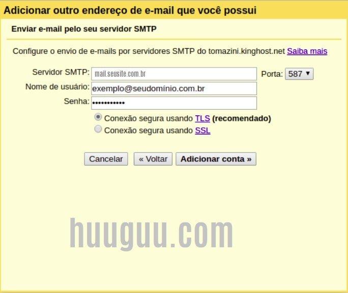Configurando sua conta de email  - tela 7